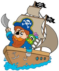 Foto auf AluDibond Pirates Pirate sailing on ship
