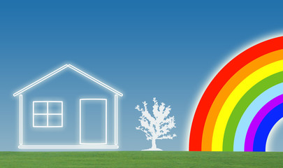House with lawn and tree on sky with rainbow background