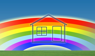 House on rainbow background© zzoplanet