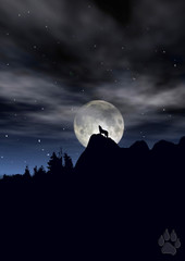 Wolf howling in moonlight silhoutte