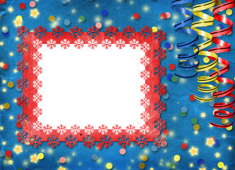 Card with multicolor streamers to holiday on the abstract backgr