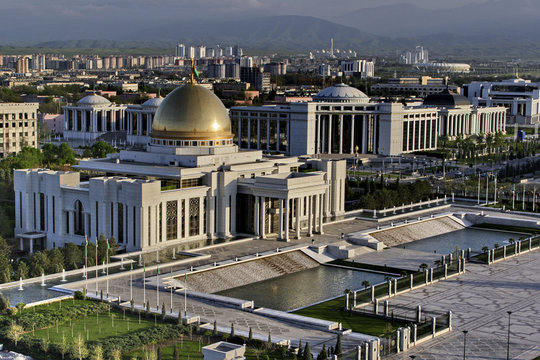 General Views to the president palace. Ashkhabad. Turkmenistan.