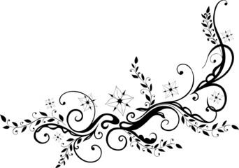 Ranke, floral, ornamental mit Blumen, Blüten