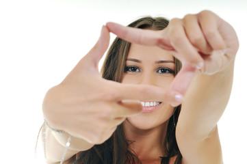 woman hand frame