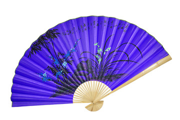 violet Chinese fan on the white background. (isolated)