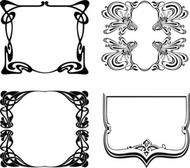 Four Black And White Art Deco Frames. Vector Illustration.