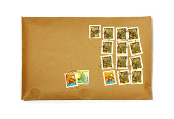 clean envelope with many colorful stamps