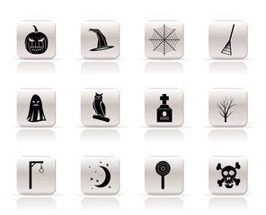 Simple halloween icon pack  with bat, pumpkin, witch, ghost, hat
