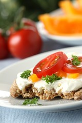 knäckebrot mit frischkäse, tomate und petersilie