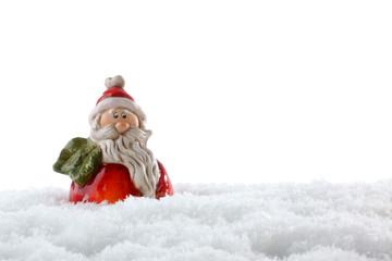 kleiner weihnachtsmann im schnee
