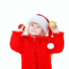 cute girl in santa hat over white