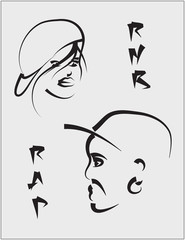 The stylized faces