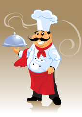 chef cook and plate