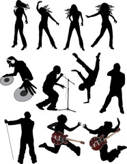 music people vector silhouettes