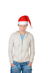 Young woman in Santa's hat