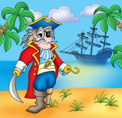 Türaufkleber Pirates Old pirate on beach