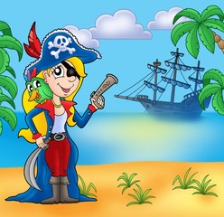 Foto auf AluDibond Pirates Pirate girl on beach 2