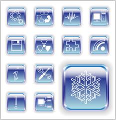 Glossy sheet metal communication  icons