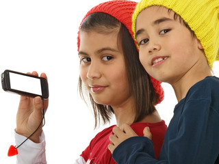 kids showing telephone screen