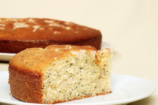 single slice of lemon poppy seed cake