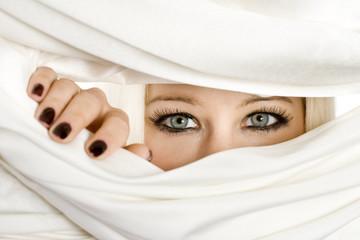 blond woman eyes