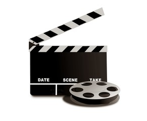 movie reel and clapper board