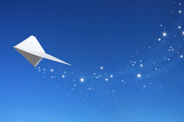 Blue sky and paper plane