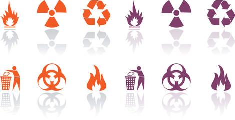 Vector Icons set - danger, recycling, Environment, fair, biohaza