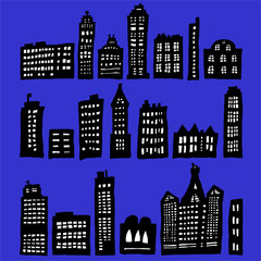 Crooked Houses At Night - vector