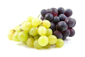 Clusters of grapes over white background