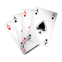 shiny isolated poker playing cards / aces in vector