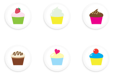 Cupcake One Inch Buttons