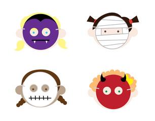 Girls Wearing Halloween Masks