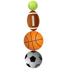 Football, volleyball, tennis and Rugby football balls