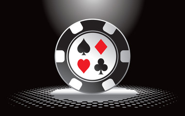 Casino chip under spotlight