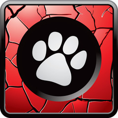 Paw print on red cracked web button