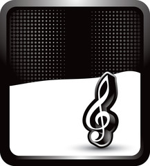 music note on black background