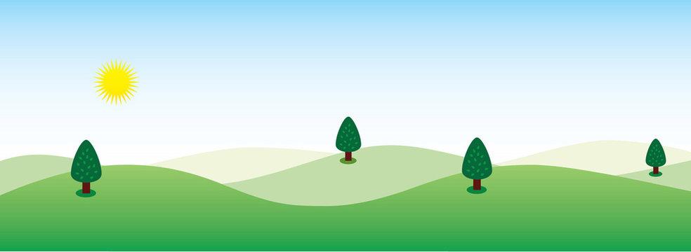 Sunny Hill Landscape Background