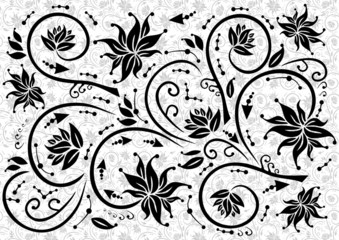 Illustration of abstract black floral ornament