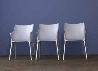 Three Chair to face a blank wall