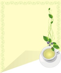 Cup with tea and sprigs. Card. Vector