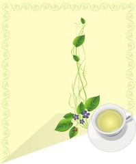 Cup with tea and sprigs. Blank for message. Vector