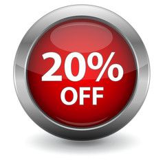 3D Red Sale Button - 20% OFF
