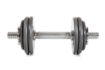 a single dumbell on white