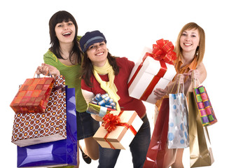 Group people girl with  shopping bag and gift box. Isolated.