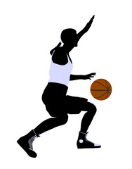 African American Basketball Player Illustration Silhouette