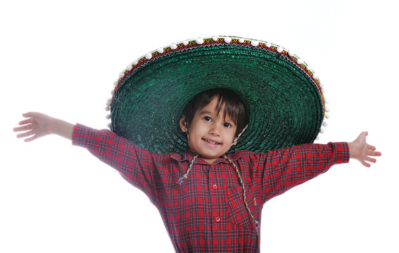 Cute kid with mexican hat on head