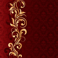 Red Seamless background with gold pattern