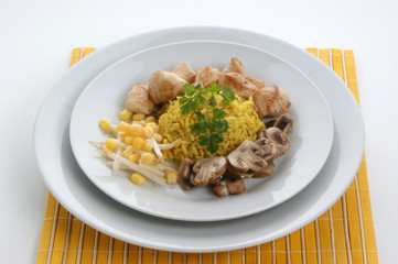organic pilau rice with grilled chicken and mushroom