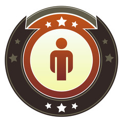 Male icon on round red and brown imperial vector button